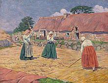 Henri DELAVALLEE 1862 - 1943 LES BATTEUSES DE BLE OU COUR DE DE FERME A BENARVEN - BRETONNES AUX FLEAUX - 1892 Huile sur toile