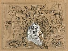 Raoul DUFY 1877 - 1953 SCÈNE BACHIQUE – Circa 1948 Encre de Chine, crayon et gouache sur papier