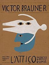 Victor BRAUNER 1903 - 1966 PROJET D'AFFICHE POUR LA GALERIE L'ATTICO - 1964 Gouache et encre sur carton fin