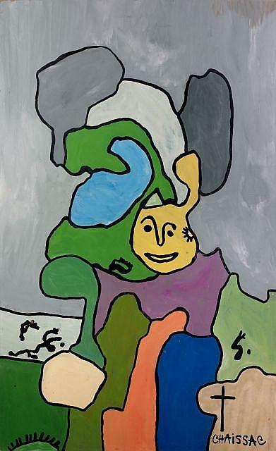 ¤ Gaston CHAISSAC (1910-1964) COMPOSITION VISAGE JAUNE, SIGNATURE A LA CROIX, 1964 Huile sur panneau d'isorel