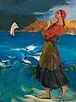 Philippe MALIAVINE (1869-1940) FEMME AU BORD DE LA MER Huile sur toile
