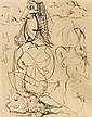 Pablo PICASSO (Malaga, 1881 - Mougins, 1973) FEUILLE D'ETUDES 29 JUIN 41, TROIS NUS COUCHES, DEUX NUS DEBOUTS, 1941 Dessin à l'encre.