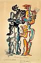 Ossip ZADKINE (1890-1967) LA BELLE ET LA BETE, 1967 Lithographie en couleurs, épreuve d'artiste signée et annotée