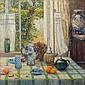 Fernand VERHAEGEN (Marchienne-au-Port,1883 - Montigny-le-Tilleul,1975) TABLE FLEURIE DEVANT LA FENÊTRE, 1909 Huile sur toile