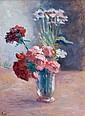 Maximilien LUCE (Paris, 1858 - Paris, 1941) VASE DE FLEURS, OEILLETS ROUGES ET ROSES Huile sur carton marouflé sur toile