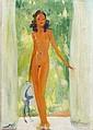Jean-Gabriel DOMERGUE (Bordeaux, 1889 - Paris, 1962) PORTE-FENETRE SUR JARDIN Huile sur carton