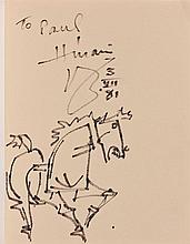 Maqbool Fida HUSAIN (1915-2011) SANS TITRE (CHEVAL) - 1981 Feutre sur la page de garde de