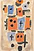 Roger BISSIERE (1886 - 1964) COMPOSITION - 1954 Aquarelle sur papier