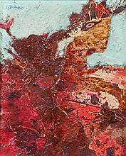 Jean DUBUFFET (1901-1985) PERSONNAGE ASSIS (PAYSAGE ROUGE) - 1954 Huile sur bois