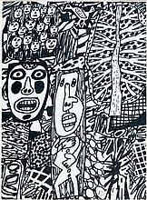 Jean DUBUFFET (1901-1985) SITUATION LXXXVIII (AVEC ARBRE ET OISEAU) - 1979 Feutre noir et collage sur papier