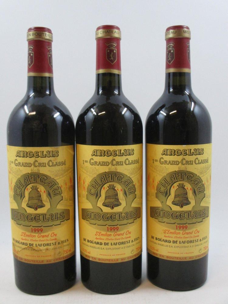 3 bouteilles CHÂTEAU ANGELUS 1999 1er GCC (B) Saint Emilion (2 étiquettes fanées, 1 tachée, déchirée)