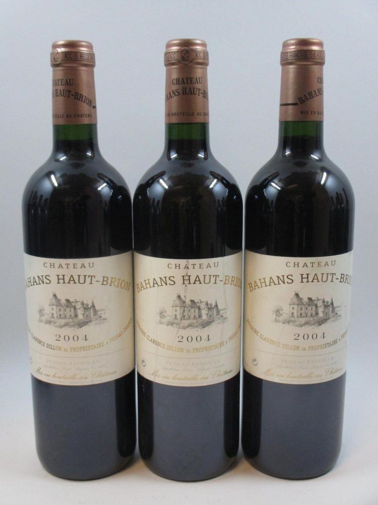 3 bouteilles CHÂTEAU BAHANS HAUT BRION 2004 Pessac Léognan (étiquettes légèrement abimées) (cave 11)