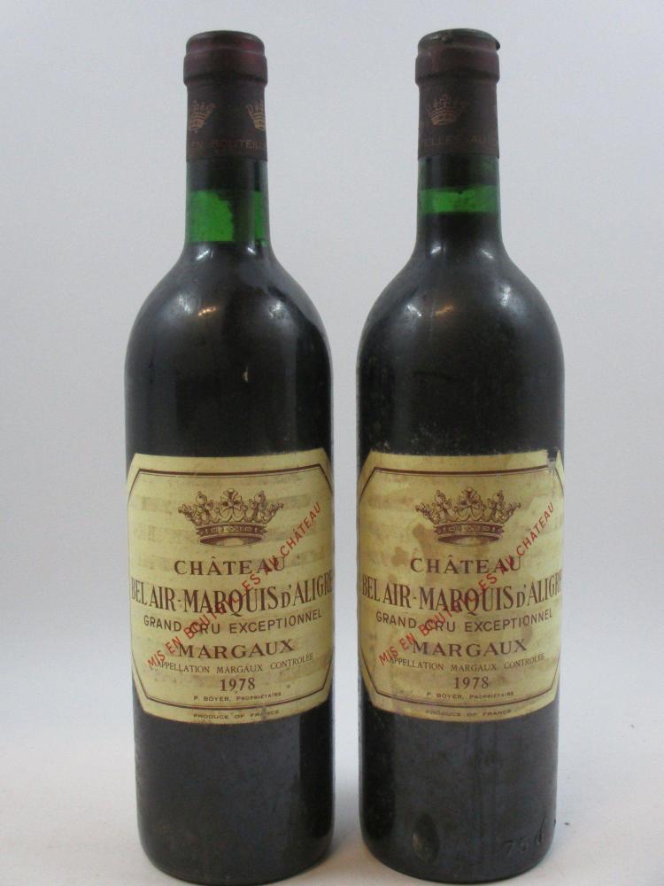 10 bouteilles CHÂTEAU BEL AIR MARQUIS D'ALIGRE 1978 Margaux (dont 3 base goulot, étiquettes très abimées, 1 capsule déchirée) (cave 15