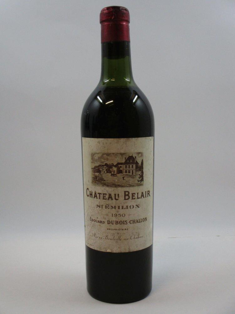 1 bouteille CHÂTEAU BELAIR DUBOIS CHALLON 1950 Saint Emilion (hauté épaule. Etiquette tachée) (cave 9)