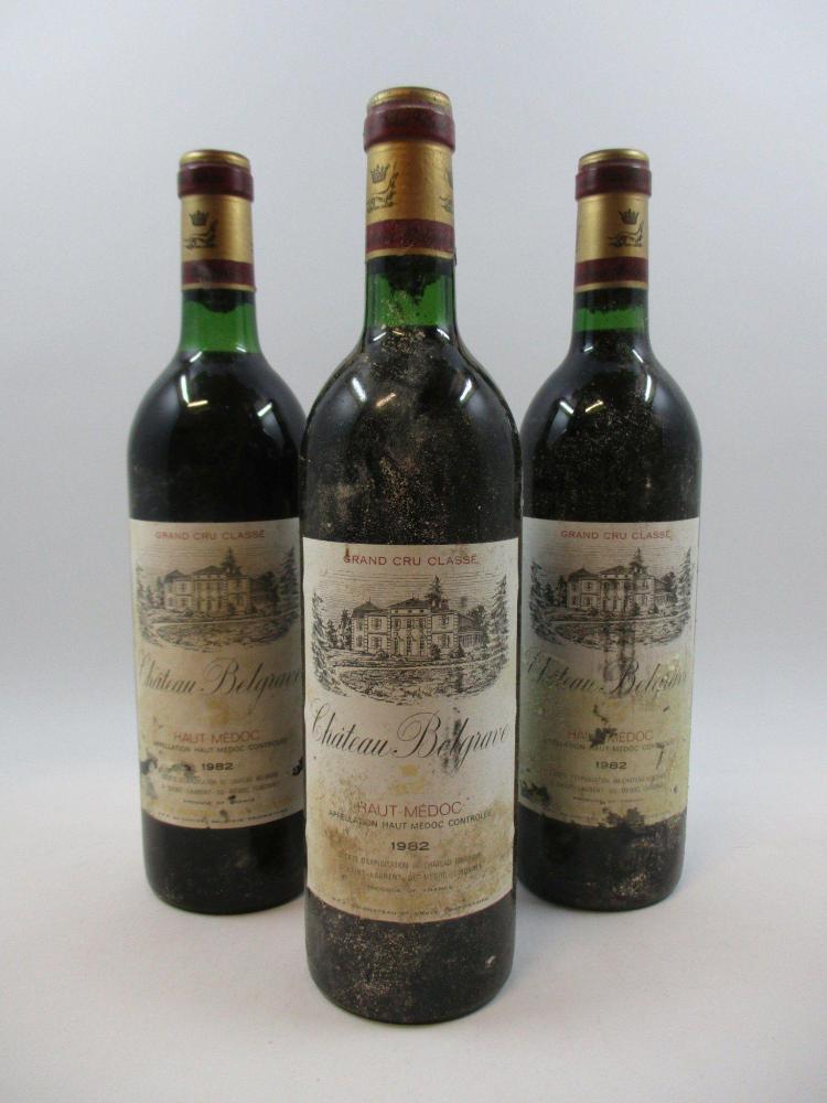 7 bouteilles CHÂTEAU BELGRAVE 1982 5è GC Haut Médoc (base goulot, étiquettes tachées, déchirées) (cave 18)
