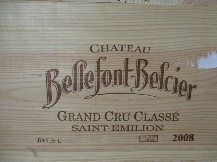 6 magnums CHÂTEAU BELLEFONT BELCIER 2008 GCC Saint Emilion Caisse bois d'origine