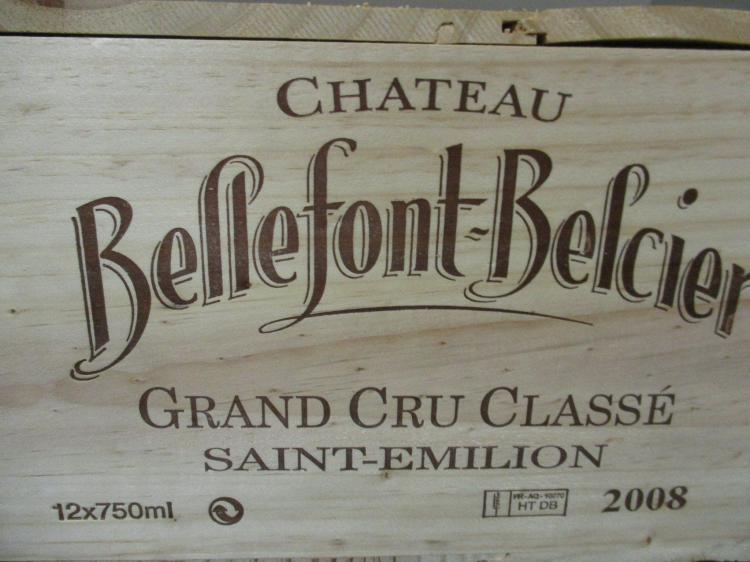 12 bouteilles CHÂTEAU BELLEFONT BELCIER 2008 GCC Saint Emilion Caisse bois d'origine