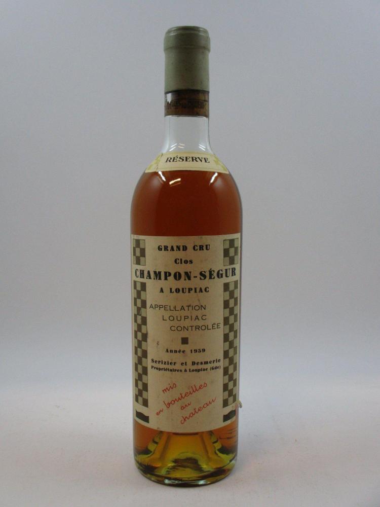 1 bouteille CLOS CHAMPON SEGUR 1959 Loupiac (mi-épaule, étiquette léger déchirée, bouchon chevillé dans sa partie basse, bouteille n...