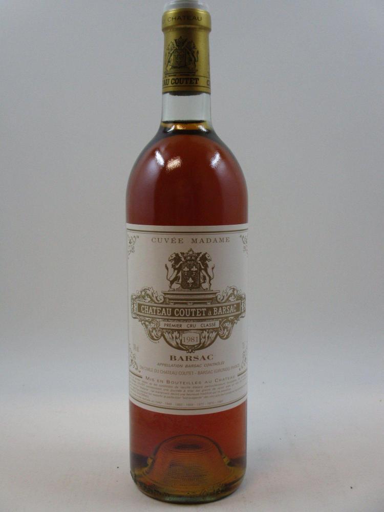 1 bouteille CHÂTEAU COUTET CUVEE MADAME 1981 1er cru Barsac (base goulot) Caisse bois d'origine (Cave 1)