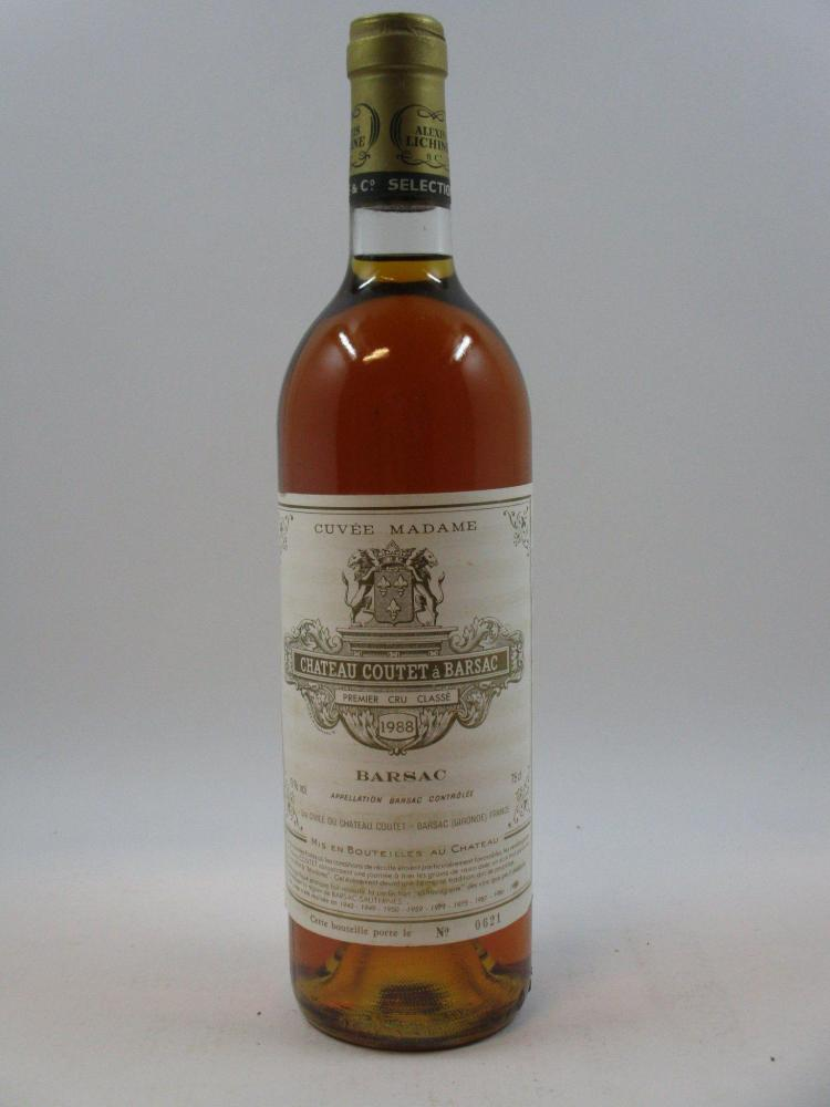 1 bouteille CHÂTEAU COUTET CUVEE MADAME 1988 1er cru Barsac (étiquette légèrement abimée) (Cave 1)