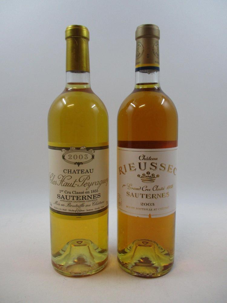 12 bouteilles 4 bts : CHÂTEAU CLOS HAUT PEYRAGUEY 2003 1er cru Sauternes8 bts : CHÂTEAU RIEUSSEC 2003 1er cru Sauternes (cave 12)