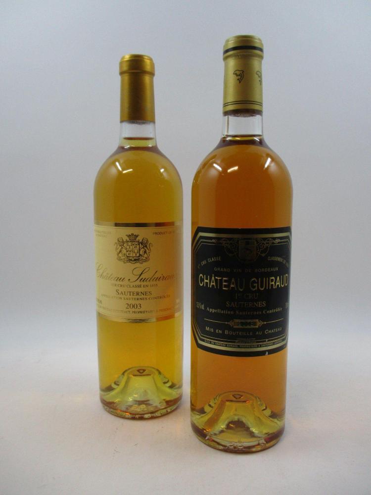 12 bouteilles 9 bts : CHÂTEAU GUIRAUD 2003 1er cru Sauternes3 bts : CHÂTEAU SUDUIRAUT 2003 1er cru Sauternes (cave 12)