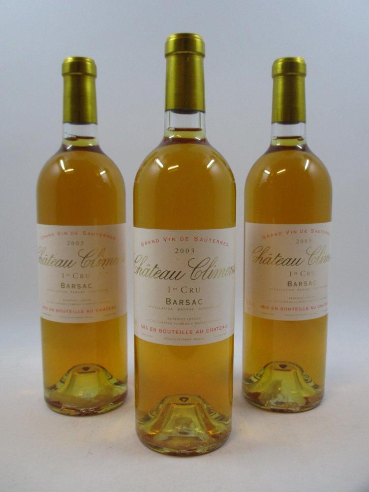 6 bouteilles CHÂTEAU CLIMENS 2003 1er cru Barsac (cave 12)