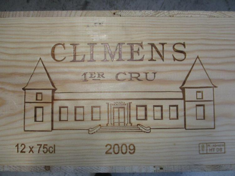 12 bouteilles CHÂTEAU CLIMENS 2009 1er cru Barsac Caisse bois d'origine (cave 12)