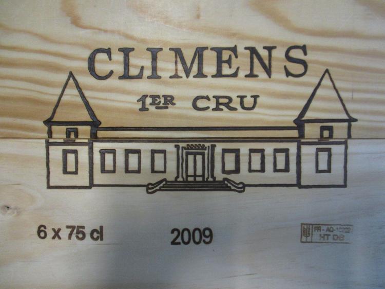 6 bouteilles CHÂTEAU CLIMENS 2009 1er cru Barsac Caisse bois d'origine (cave 12)