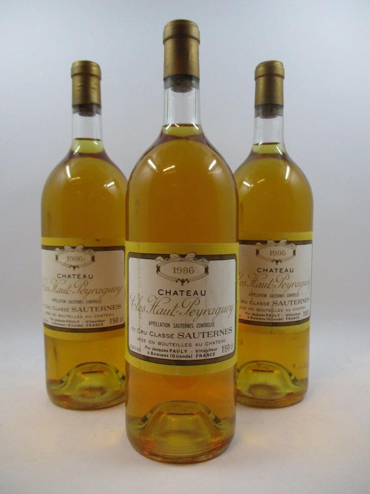 6 magnums CHÂTEAU CLOS HAUT PEYRAGUEY 1986 1er cru Sauternes (étiquettes fanées) (cave 12)