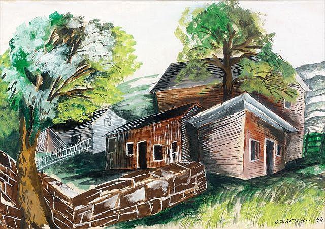 Ossip ZADKINE (Vitebsk, 1890- Paris, 1967) PAYSAGE AMERICAIN, 1944 Gouache sur papier