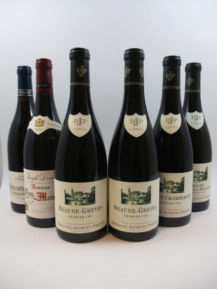 6 bouteilles 1 bt : BEAUNE 2011 1er cru Clos des Mouches. Domaine Chanson1 bt : BEAUNE 2011 1er cru Clos des Mouches. Joseph Drouhin...