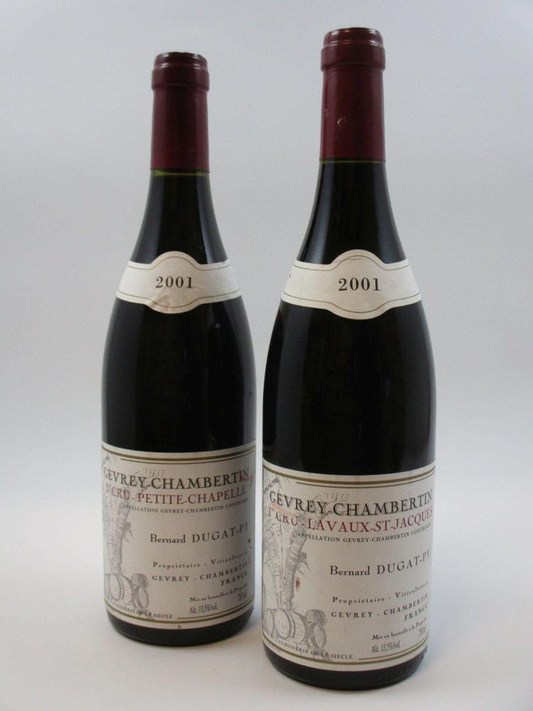 2 bouteilles 1 bt : GEVREY CHAMBERTIN 2001 1er cru Lavaux Saint Jacques. Bernard Dugat Py (étiquette léger tachée)1 bt : GEVREY CHAM...