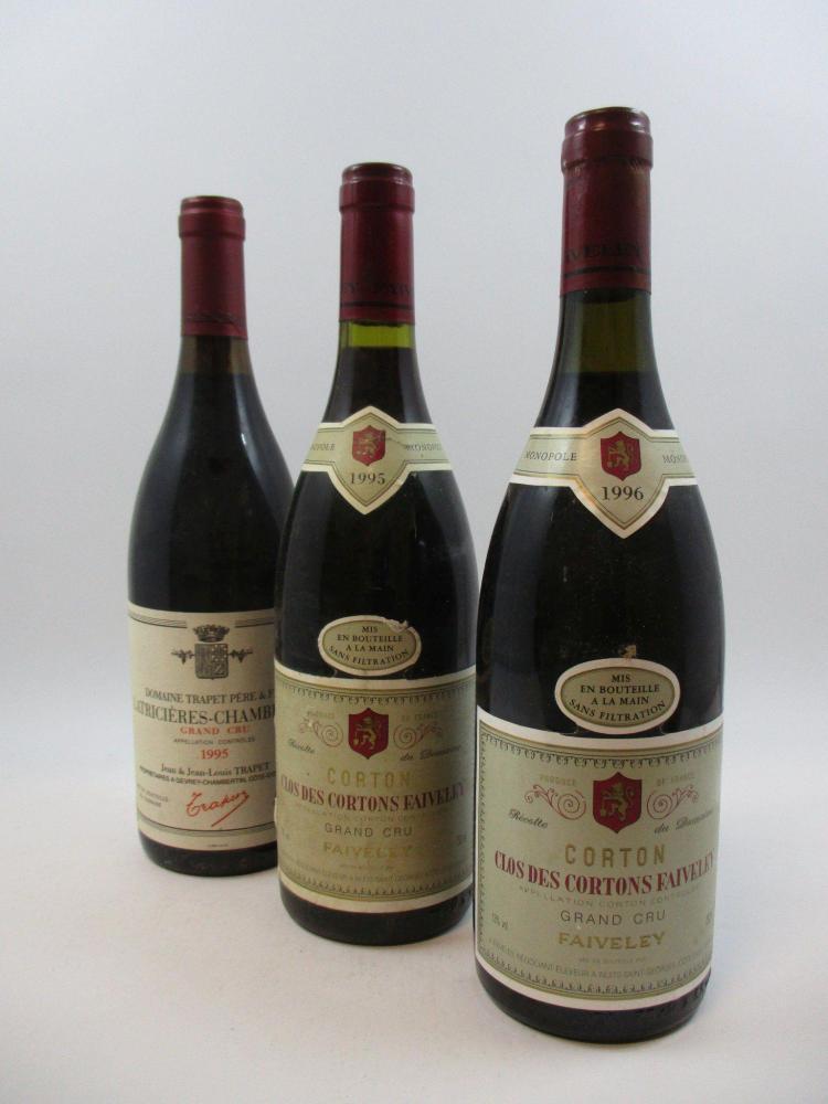 3 bouteilles 1 bt : LATRICIERES CHAMBERTIN 1995 Grand Cru. Domaine Jean & Jean-Louis Trapet (étiquette fanée)1 bt : CORTON CLOS DES ...