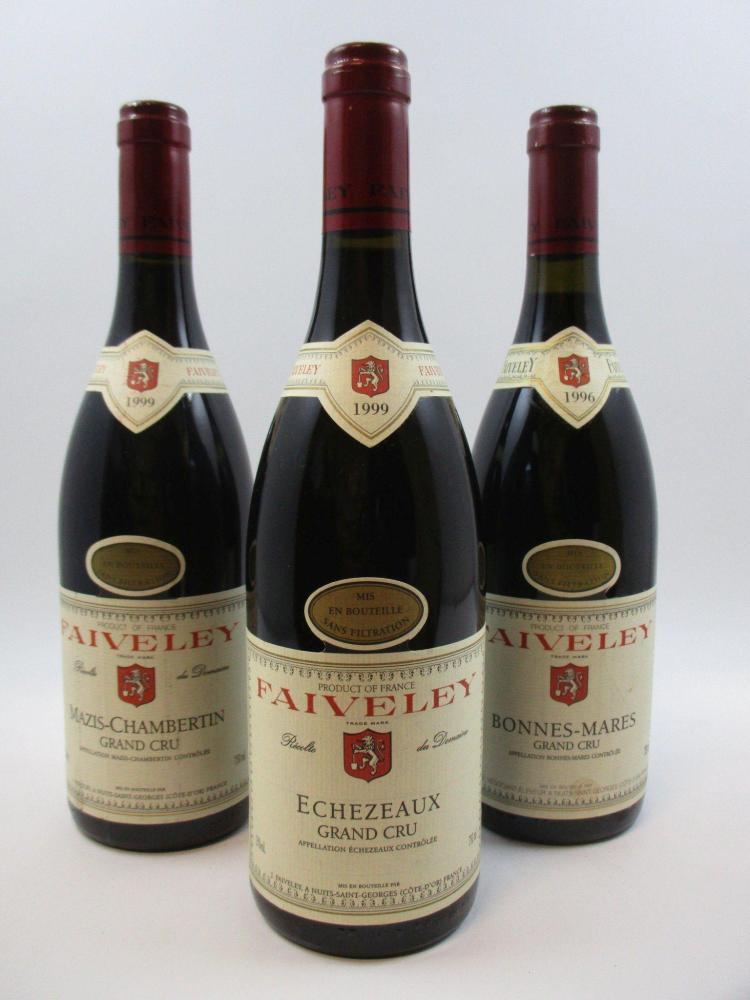 3 bouteilles 1 bt : MAZIS CHAMBERTIN 1999 Grand Cru. Domaine Faiveley1 bt : ECHEZEAUX 1999 Grand Cru. Domaine Faiveley1 bt : BONNES ...