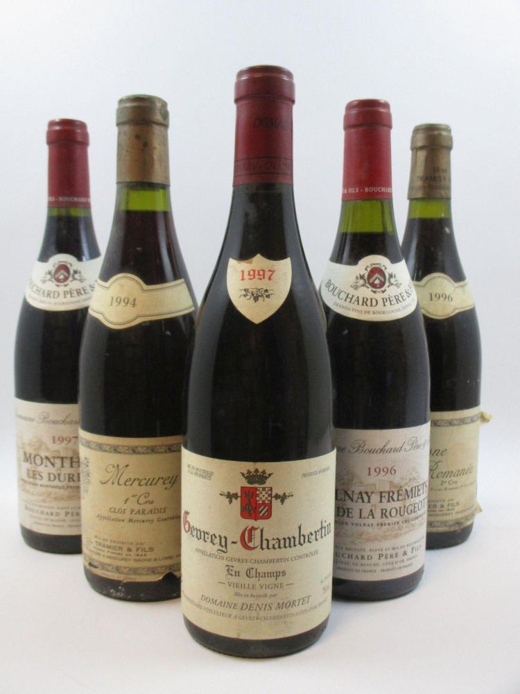 6 bouteilles 1 bt : MONTHELIE 1997 1er Cru Les Duresses. Bouchard Père et Fils1 bt : VOLNAY 1996 1er cru Frémiets. Bouchard Père et ...