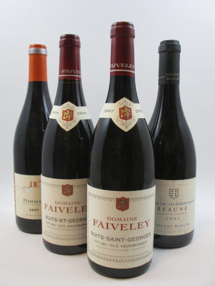 6 bouteilles 3 bts : POMMARD 2007 Domaine Michel Caillot1 bt : NUITS SAINT GEORGES 2007 1er cru Aux Vignerondes. Domaine Faiveley1 b...