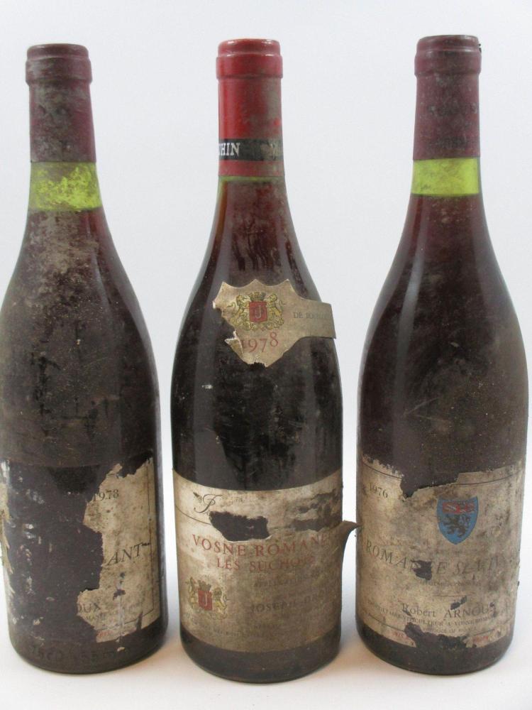 7 bouteilles 3 bts : ROMANEE SAINT VIVANT 1976 Grand cru. Robert Arnoux (étiquettes très abimées, quasi détruites)1 bt : ROMANEE SAI...