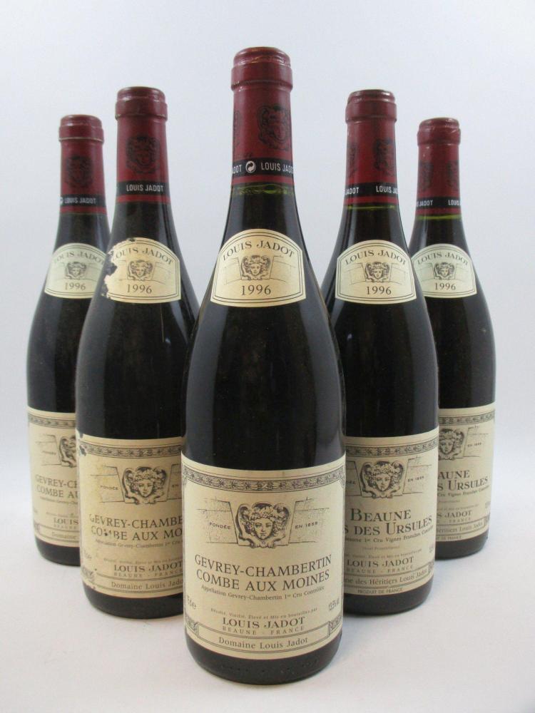 5 bouteilles 2 bts : BEAUNE 1996 1er cru Clos des Ursules. Louis Jadot3 bts : GEVREY CHAMBERTIN 1996 1er cru Combe aux Moines. Louis...