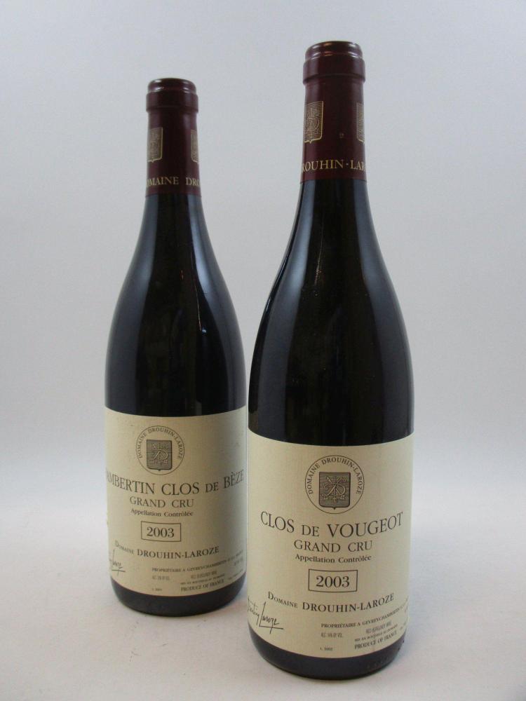 6 bouteilles 3 bts : CHAMBERTIN CLOS DE BEZE 2003 Grand Cru. Drouhin Laroze (étiquettes léger abimées)3 bts : CLOS VOUGEOT 2003 Gran...