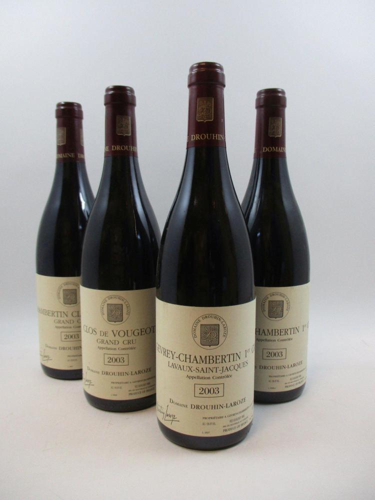 6 bouteilles 3 bts : CHAMBERTIN CLOS DE BEZE 2003 Grand Cru. Drouhin Laroze1 bt : CLOS VOUGEOT 2003 Grand Cru. Drouhin Laroze1 bt : ...
