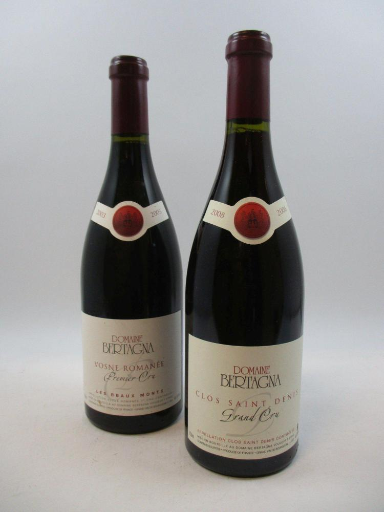 12 bouteilles 10 bts : CLOS SAINT DENIS 2008 Grand Cru. Domaine Bertagna2 bts : VOSNE ROMANEE 2003 1er cru Domaine Bertagna (cave 12)