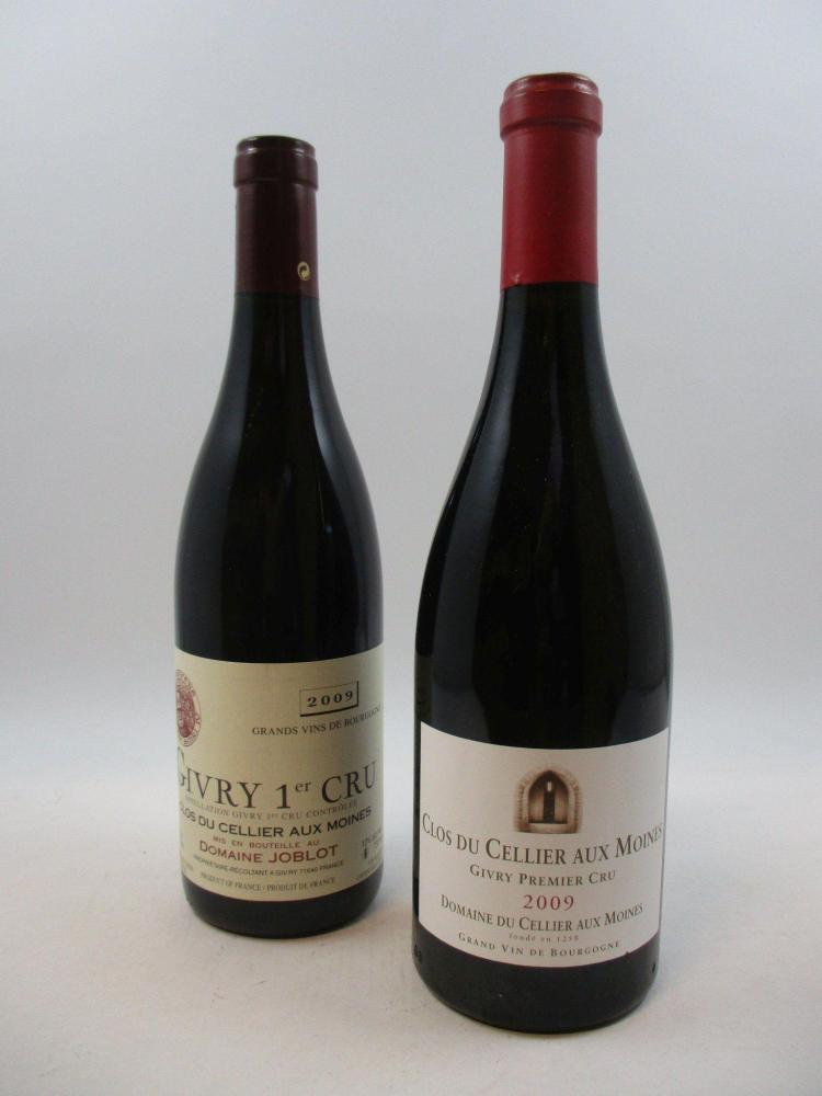 12 bouteilles 10 bts : GIVRY 2009 1er cru Clos du Cellier aux Moines. Domaine du Cellier aux Moines2 bts : GIVRY 2009 1er cru Clos d...