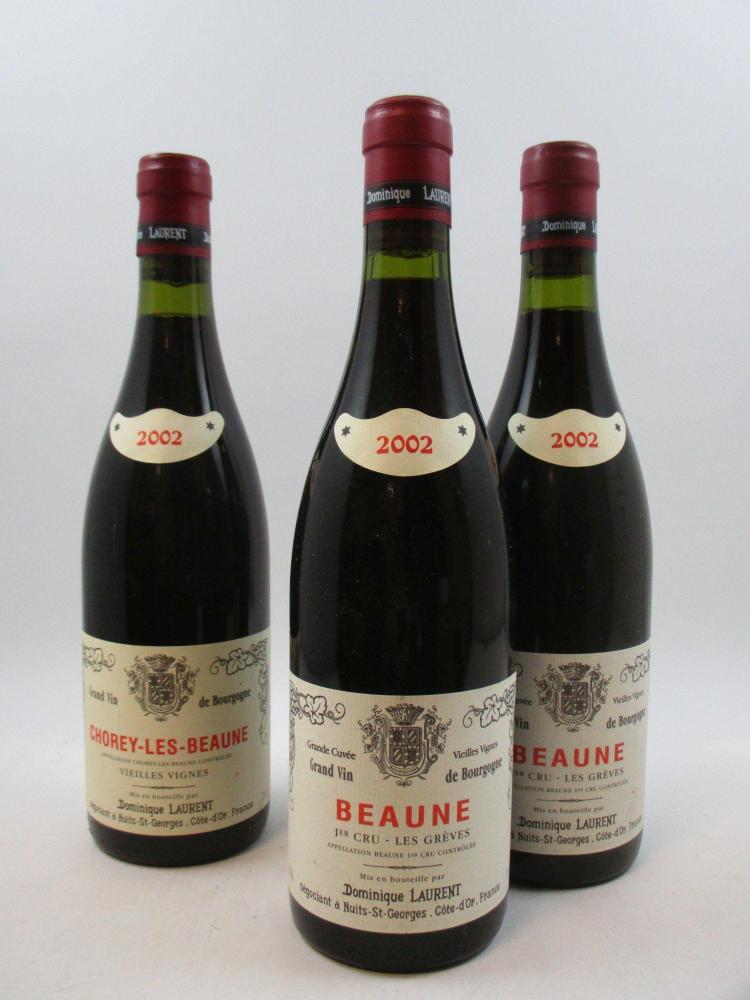 12 bouteilles 11 bts : BEAUNE 2002 1er cru Grèves. Domaine Dominique Laurent1 bt : CHOREY LES BEAUNE 2002 Vieilles Vignes. Dominique...