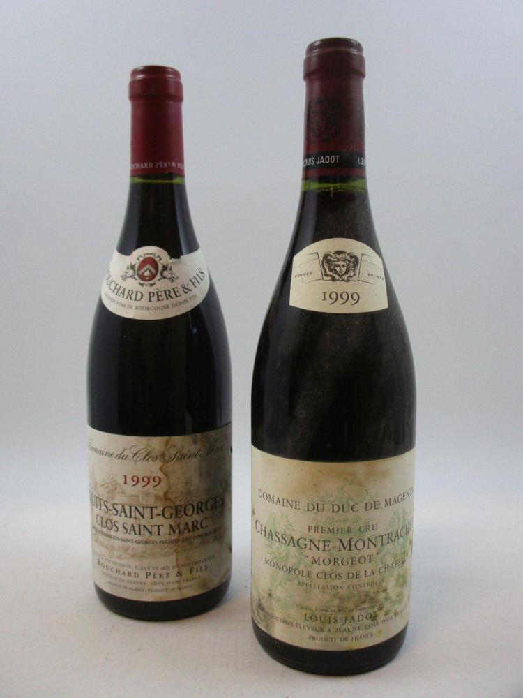 12 bouteilles 11 bts : CHASSAGNE MONTRACHET 1999 1er cru Morgeot. Domaine du Duc de Magenta. Louis Jadot (étiquettes tachées, une...