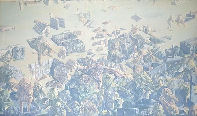 DADO (né en 1933) CIMETIERE DE MONTMARTRE, 1971 Huile sur toile