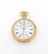 OMEGA N°5153644 vers 1930 Beau chronographe de poche en or. Cadran émail blanc avec 2 compteurs, petite trotteuse à 6 heures et...