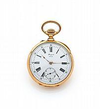BREGUET N° 4349/3409 Belle montre de poche en or. Boîtier rond. Dos monogrammé. Cadran émail blanc avec petite trotteuse à 6 heu...