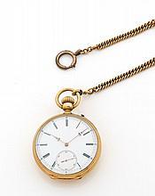 ANONYME n°6562 vers 1890 Montre de poche en or. Boîtier rond. Cadran émail blanc avec chiffres romains peints, petite trotteuse à...