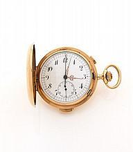 ANGELUS REPETITION MINUTES N°36583 vers 1905 Chronographe de poche savonnette en or. Cadran émail blanc (fêle) avec chiffres ara...